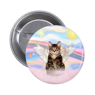 Tabby Tiger Cat Angel in Clouds Button