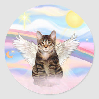 Tabby Tiger Cat Angel in Clouds Classic Round Sticker