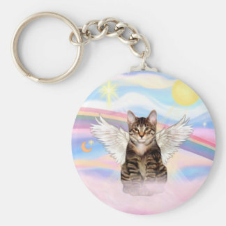 Tabby Tiger Cat Angel in Clouds Keychain