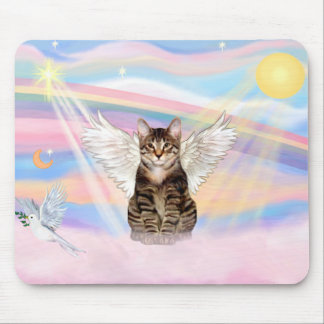 Tabby Tiger Cat Angel in Clouds Mouse Pad