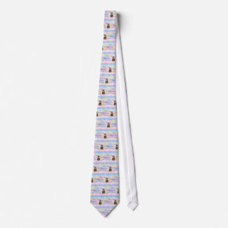 Tabby Tiger Cat Angel in Clouds Neck Tie