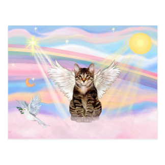 Tabby Tiger Cat Angel in Clouds Postcard