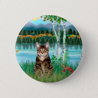 Tabby Tiger Cat  - Birches Pinback Button