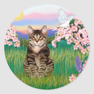 Tabby Tiger Cat  - Blossoms Classic Round Sticker