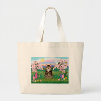 Tabby Tiger Cat  - Blossoms Large Tote Bag
