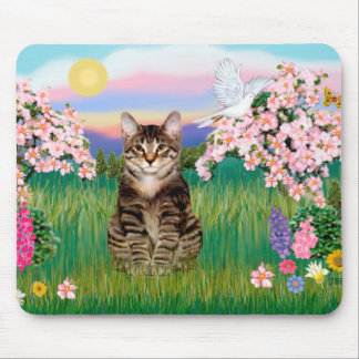 Tabby Tiger Cat  - Blossoms Mouse Pad
