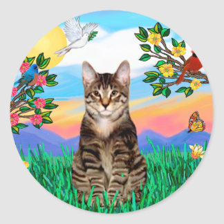 Tabby Tiger Cat - Bright Life Classic Round Sticker