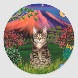 Tabby Tiger Cat - Mt Fuji at Night Classic Round Sticker