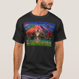 Tabby Tiger Cat - Mt Fuji at Night T-Shirt