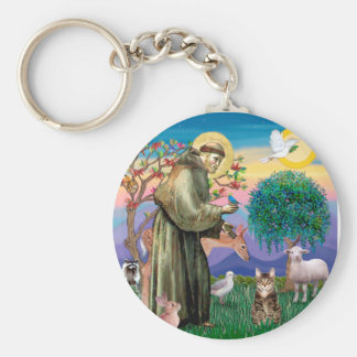 Tabby Tiger Cat - Saint Francis Basic Round Button Keychain