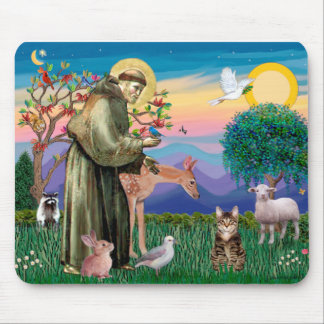 Tabby Tiger Cat - Saint Francis Mouse Pad