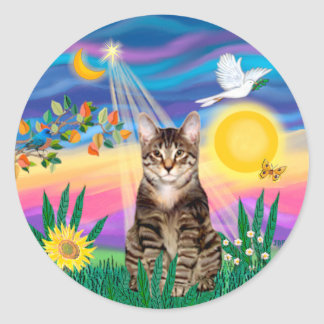 Tabby Tiger Cat - Twilight Classic Round Sticker