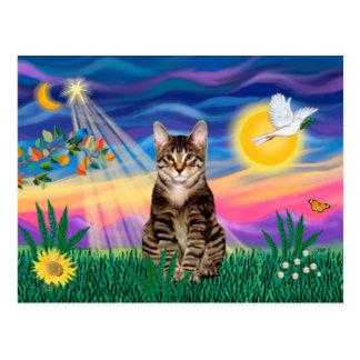Tabby Tiger Cat - Twilight Postcard