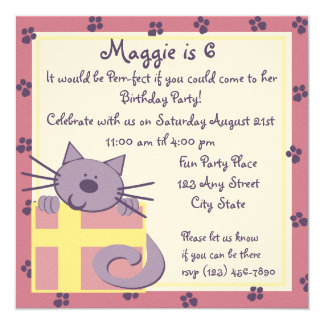 Tabby Toes/Kitten Party 5.25x5.25 Square Paper Invitation Card