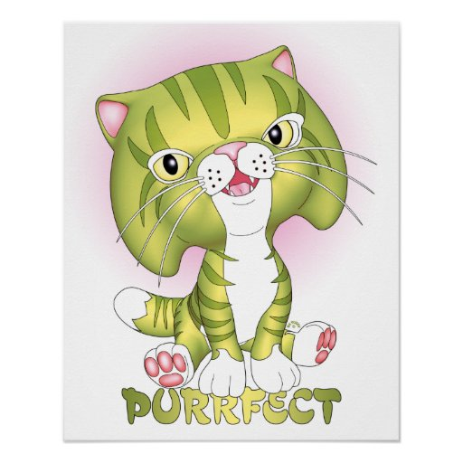 """""""Tabby Tom"""" Green Cat Poster Purrfect"""