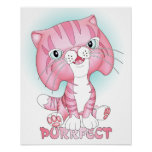"""""""Tabby Tom"""" Pink Cat Poster Purrfect"""