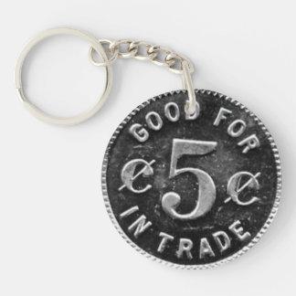 Taberna de Pajakowski símbolo de 5 centavos Llavero Redondo Acrílico A Doble Cara