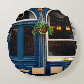 Taberna del museo, barra de Londres, Pub azul Cojín Redondo