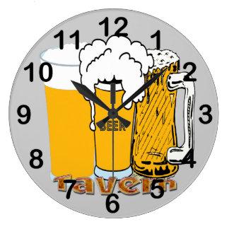 Taberna - reloj de pared redondo de la cerveza