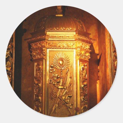 Tabernáculo católico pegatina redonda