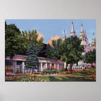 Tabernáculo y templo mormones de Salt Lake City Ut Póster