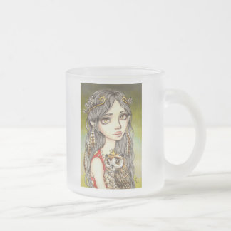 Tabitha and her Royal Owlet Frosted Glass Coffee Mug