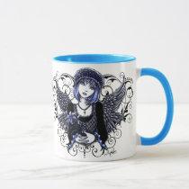 tabitha, angel, big, mug, gothic angel, gothic, fantasy, dark, faeries, angels, victorian, hearts, flowers, blue angel, myka, jelina, science fiction, Mug with custom graphic design