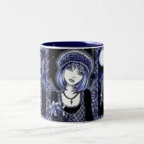tabitha, grave, yard, angel, skull, flower, blue, gothic, fantasy, art, myka, jelina, mika, angels, Mug with custom graphic design