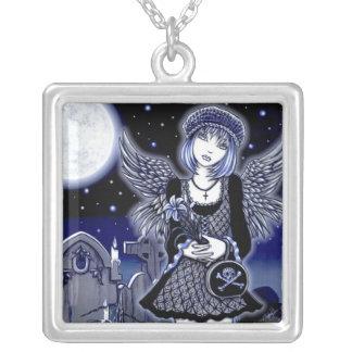 """Tabitha"" Blue Gothic Angel Art Necklace"