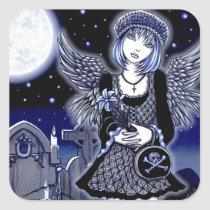 tabitha, grave, yard, angel, skull, flower, blue, gothic, fantasy, art, myka, jelina, mika, angels, Sticker with custom graphic design