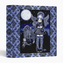 gothic, blue, angel, rag, doll, moon, full, stars, guardian, fairy, faery, faerie, fae, fairies, fantasy, art, myak, jelina, tabitha, tomb, stone, halloween, grave, yard, characters, Binder with custom graphic design