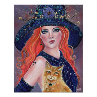 Tabitha Halloween witch and Kitty poster by Renee