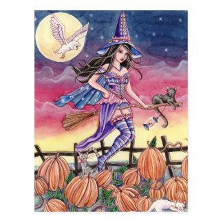 Tabitha - postal de la bruja, del gato y del búho