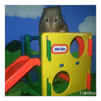 """Tabitha quiere jugar invitación 5.25"""" x 5.25"""""""