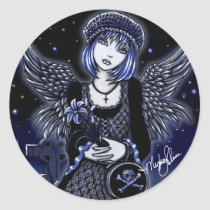 tabitha, stickers, guardian, angel, gothic, fairies, dark, angels, fairy, myka, jelina, faeries, skull and crossbones, skulls, fantasy, Sticker with custom graphic design