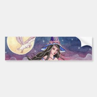 Tabitha - Witch and Owl Bumper Sticker Car Bumper Sticker