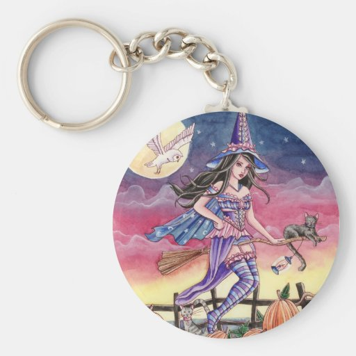 Tabitha - Witch, Cat and Owl Keychain