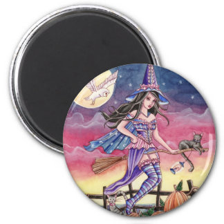 Tabitha - Witch, Cat and Owl Magnet