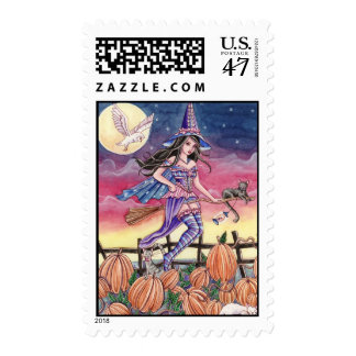Tabitha - Witch, Cat and Owl Postage Stamp