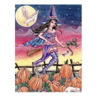 Tabitha - Witch, Cat and Owl Postcard