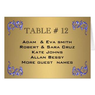 Tabla azul del boda del número de la tabla del oro tarjeta pequeña