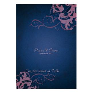 Tabla azul y rosada noble Placecard de la voluta Plantillas De Tarjeta De Negocio