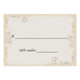 Tabla beige elegante Placecard del boda de Scrollw Plantilla De Tarjeta De Visita