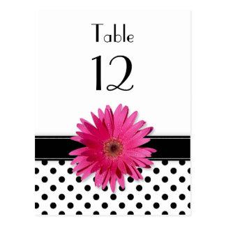 Tabla blanca del boda del lunar del negro rosado postal