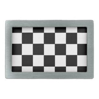 tabla blanco y negro del ajedrez hebilla de cinturón rectangular