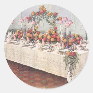 Tabla de banquete del boda del vintage pegatinas redondas