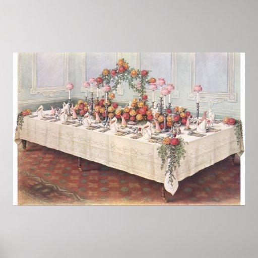 Tabla de banquete del boda del vintage posters