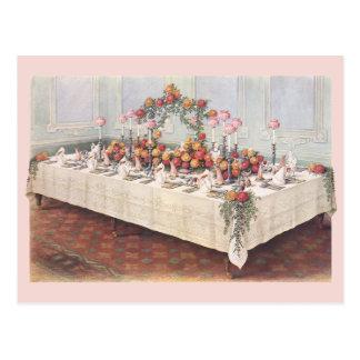 Tabla de banquete del boda del vintage postal
