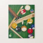 Tabla de billares realista con las bolas y la tiza puzzles con fotos