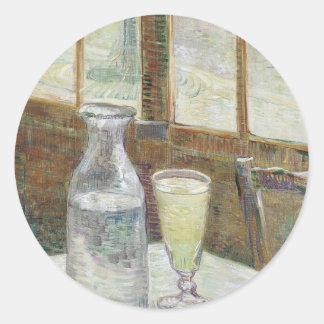 Tabla de Café con el pegatina redondo del absinth